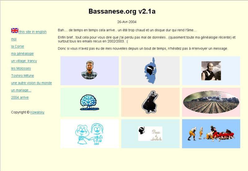 Capture d'écran de bassanese.org en 2004