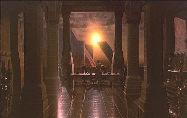 Blade Runner, Rachel passe le test de Voight-Kampff ; fenêtre translucide