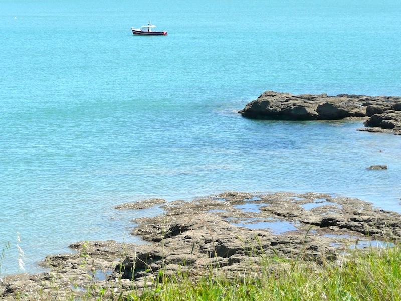 Bateau de pêche au mouillage près de la côte