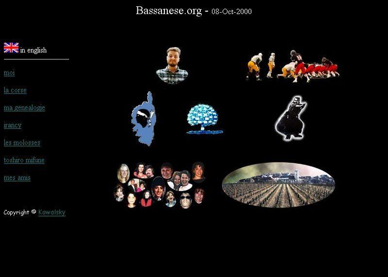 capture d'ecran de bassanese.org en 2000